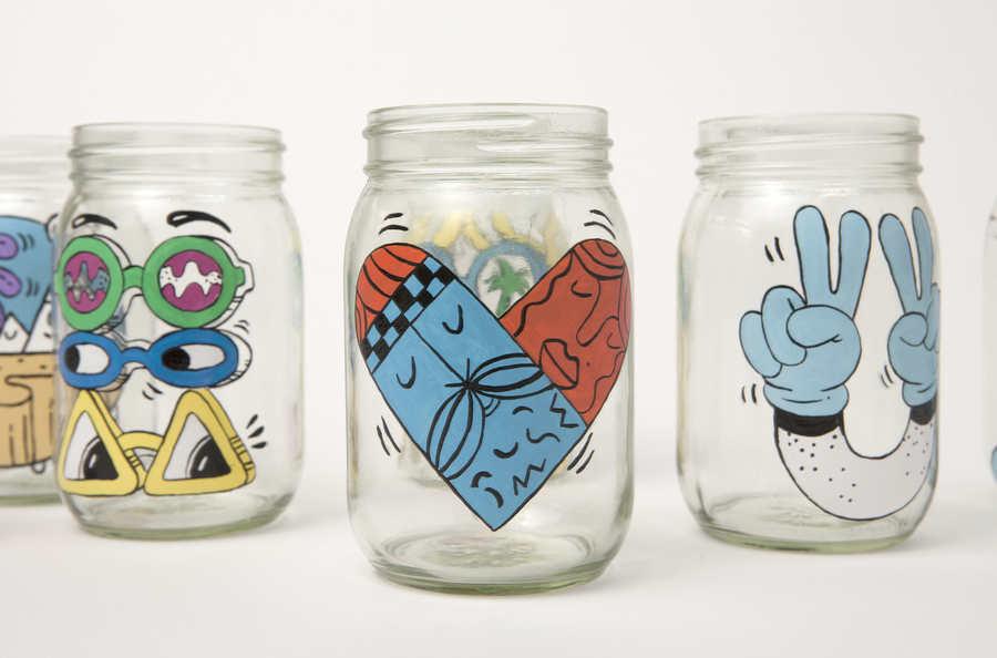 tarros de cristal pintados a mano para starbucks urban